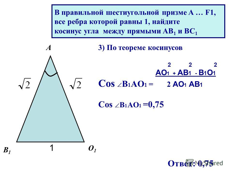 3) По теореме косинусов 2 2 2 AO 1 + AB 1 - B 1 O 1 Cos B 1 AO 1 = 2 AO 1 AB 1 Cos B 1 AO 1 =0,75 1 О1О1 В1В1 А Ответ: 0,75 В правильной шестиугольной призме A … F1, все ребра которой равны 1, найдите косинус угла между прямыми AB 1 и BC 1