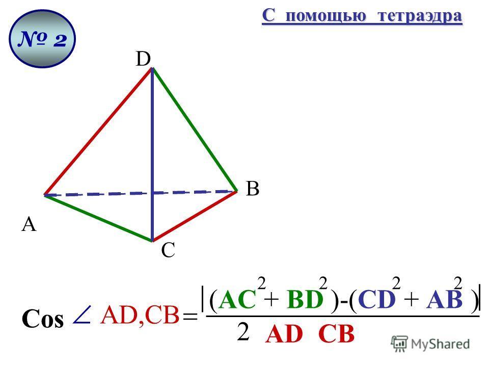 2 D А В С 2 (AC + BD )-(CD + AB ) Cos AD,CB AD CB 2222 С помощью тетраэдра