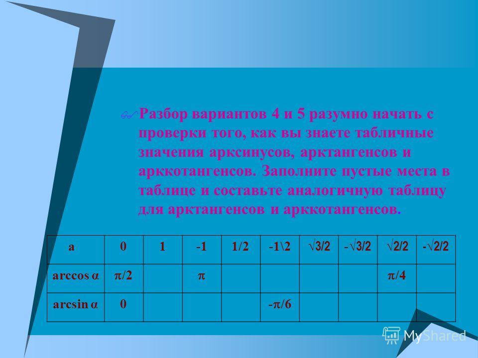 Разбор вариантов 4 и 5 разумно начать с проверки того, как вы знаете табличные значения арксинусов, арктангенсов и арккотангенсов. Заполните пустые места в таблице и составьте аналогичную таблицу для арктангенсов и арккотангенсов. a011/2-1\2 3/2 -3/2