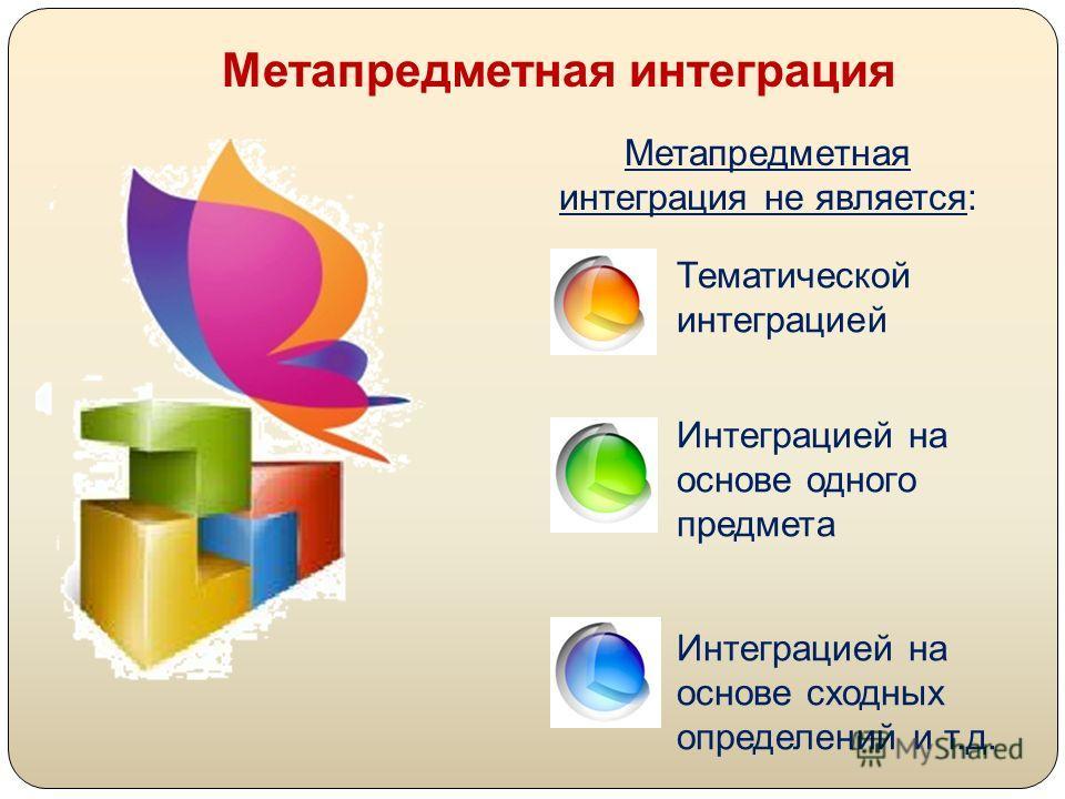 Метапредметная интеграция Метапредметная интеграция не является: Тематической интеграцией Интеграцией на основе одного предмета Интеграцией на основе сходных определений и т.д.