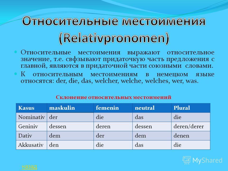 Относительные местоимения выражают относительное значение, т.е. свфзывают придаточкую часть предложения с главной, являются в придаточной части союзными словами. К относительным местоимениям в немецком языке относятся: der, die, das, welcher, welche,