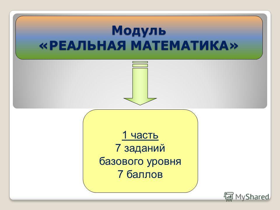 Модуль «РЕАЛЬНАЯ МАТЕМАТИКА» 1 часть 7 заданий базового уровня 7 баллов