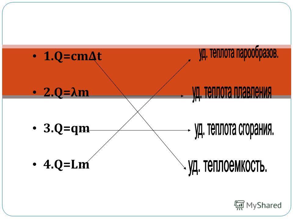 1.Q=cmΔt 2.Q=λm 3.Q=qm 4.Q=Lm Удельная теплоемкость удельная