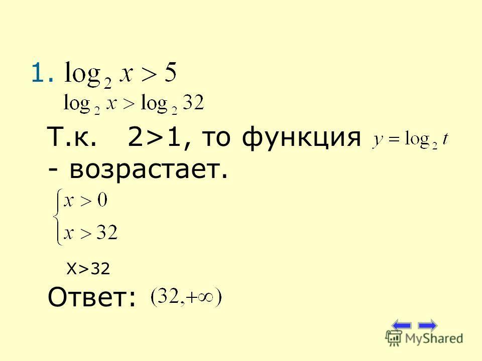 1. Т.к. 2>1, то функция - возрастает. X>32 Ответ:
