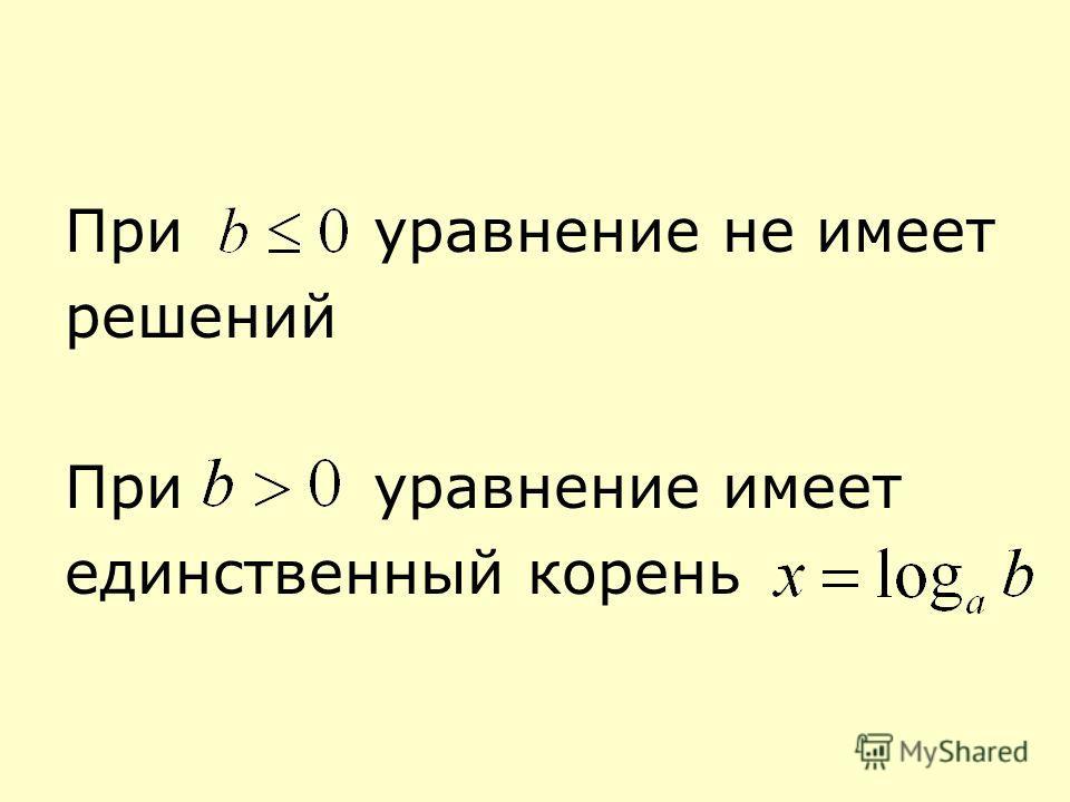 При уравнение не имеет решений При уравнение имеет единственный корень
