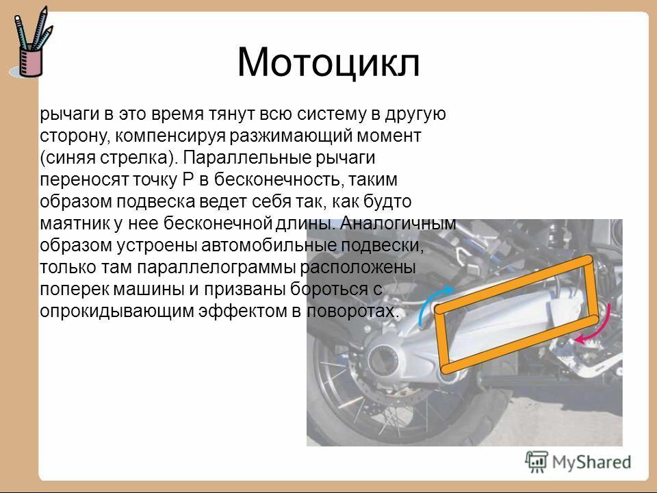 Мотоцикл рычаги в это время тянут всю систему в другую сторону, компенсируя разжимающий момент (синяя стрелка). Параллельные рычаги переносят точку P в бесконечность, таким образом подвеска ведет себя так, как будто маятник у нее бесконечной длины. А