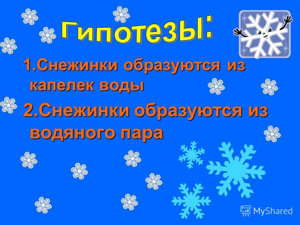 1.Снежинки образуются из капелек воды 1.Снежинки образуются из капелек воды 2.Снежинки образуются из водяного пара 2.Снежинки образуются из водяного пара