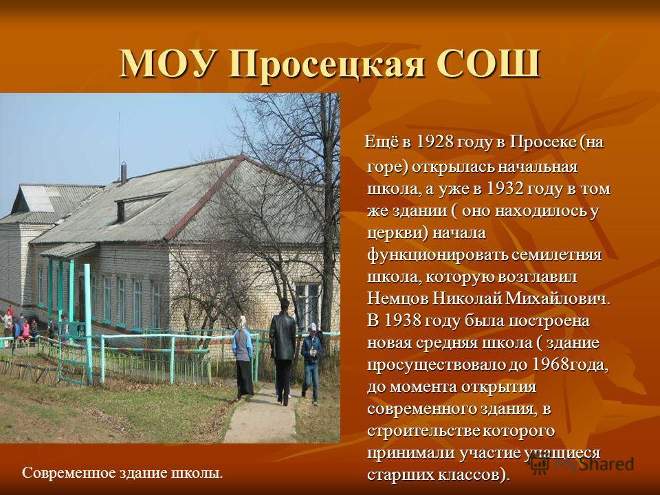МОУ Просецкая СОШ Ещё в 1928 году в Просеке (на горе) открылась начальная школа, а уже в 1932 году в том же здании ( оно находилось у церкви) начала функционировать семилетняя школа, которую возглавил Немцов Николай Михайлович. В 1938 году была постр