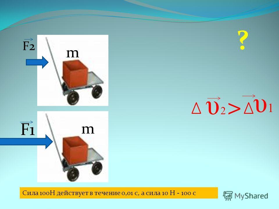 F1 F2 m m υ 2 υ 2 υ1υ1 Сила 100Н действует в течение 0,01 с, а сила 10 Н - 100 с ? >
