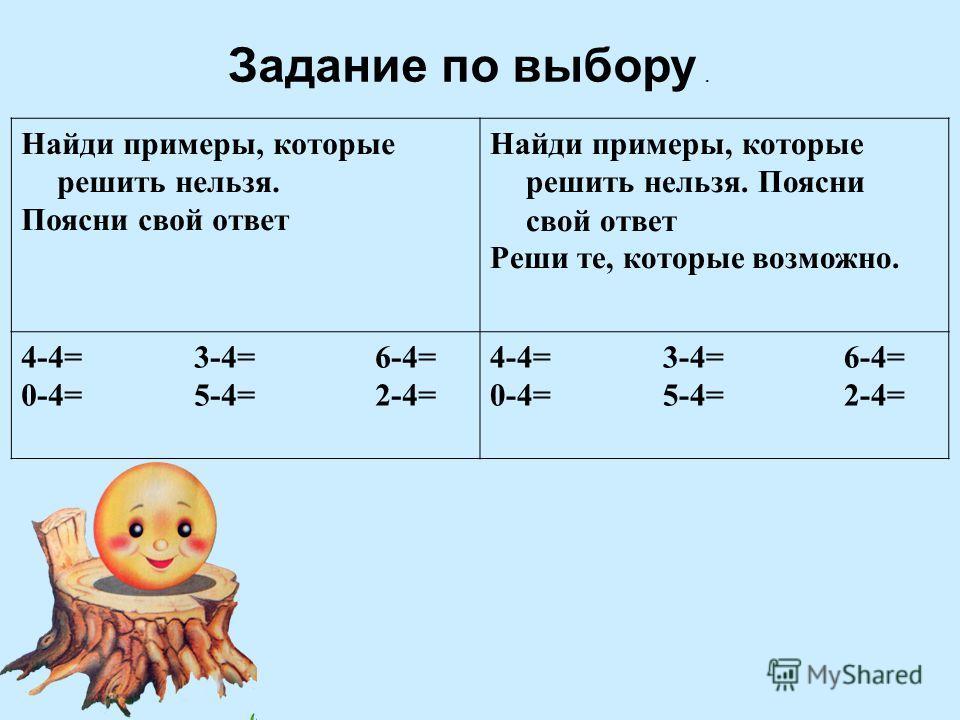 Задание по выбору. Найди примеры, которые решить нельзя. Поясни свой ответ Найди примеры, которые решить нельзя. Поясни свой ответ Реши те, которые возможно. 4-4= 3-4= 6-4= 0-4= 5-4= 2-4= 4-4= 3-4= 6-4= 0-4= 5-4= 2-4=