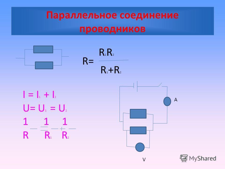 Параллельное соединение проводников I = I 1 + I 2 U= U 1 = U 2 1 1 1 R R 1 R 2 R= R1R2R1R2 R 1 +R 2 А V