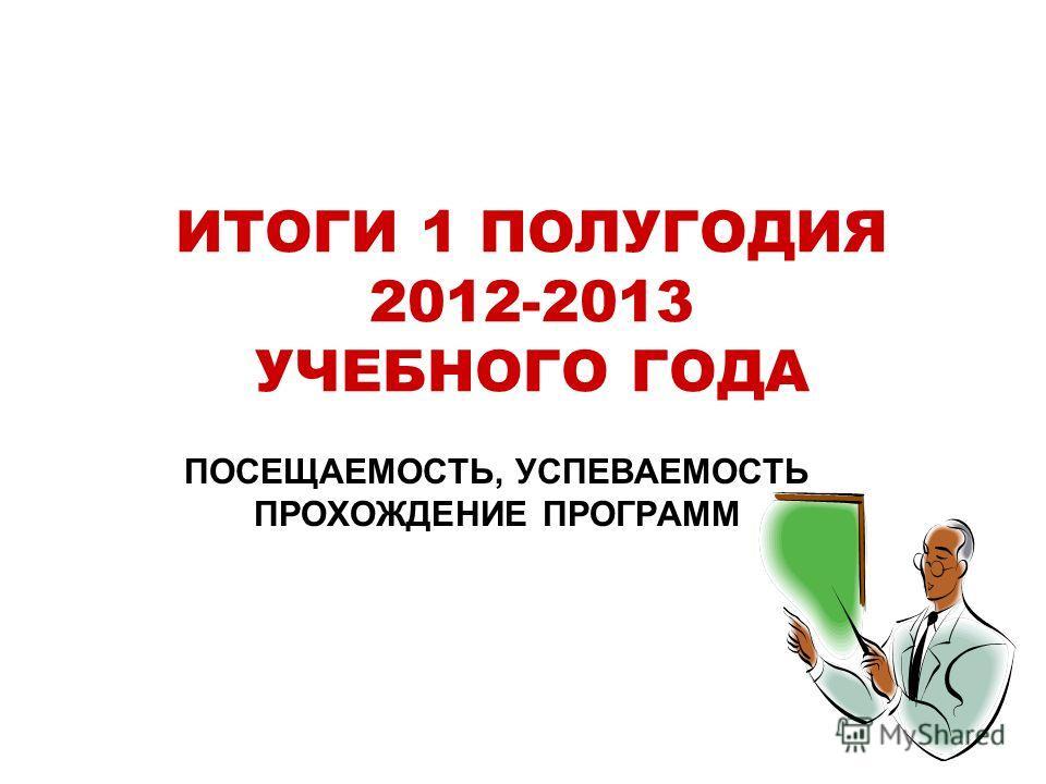 ИТОГИ 1 ПОЛУГОДИЯ 2012-2013 УЧЕБНОГО ГОДА ПОСЕЩАЕМОСТЬ, УСПЕВАЕМОСТЬ ПРОХОЖДЕНИЕ ПРОГРАММ