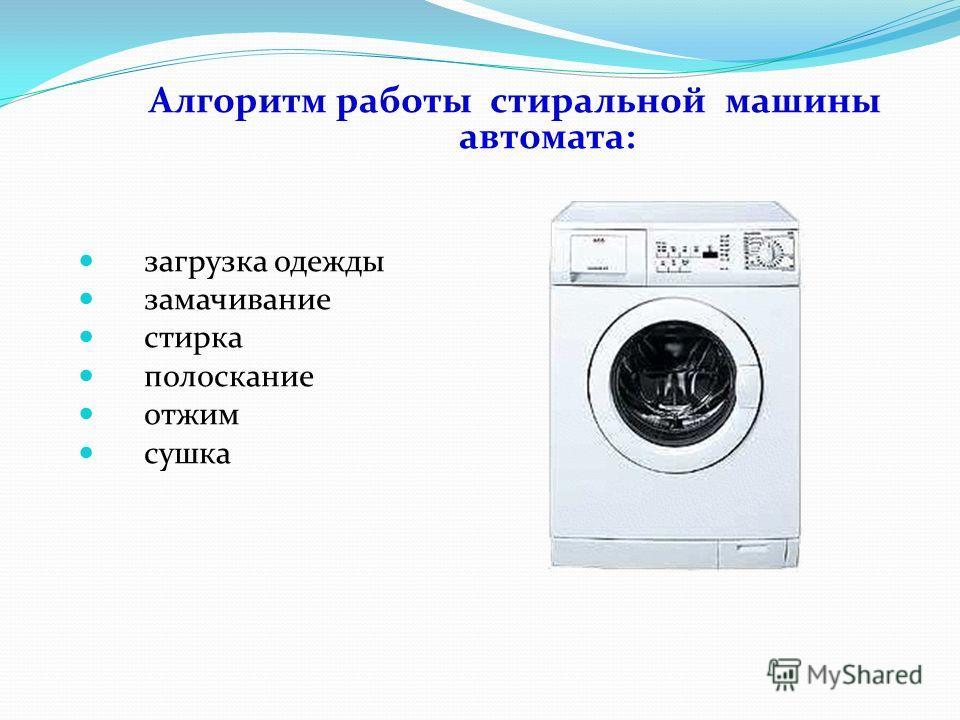 Алгоритм работы стиральной машины автомата: загрузка одежды замачивание стирка полоскание отжим сушка