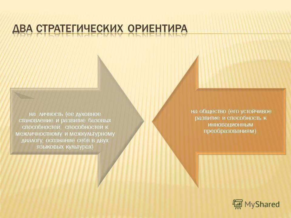 на личность (ее духовное становление и развитие базовых способностей, способностей к межличностному и межкультурному диалогу, осознание себя в двух языковых культурах) на общество (его устойчивое развитие и способность к инновационным преобразованиям