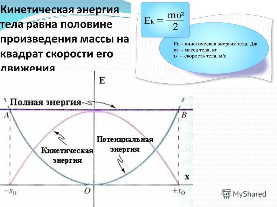 Кинетическая энергия тела равна половине произведения массы на квадрат скорости его движения