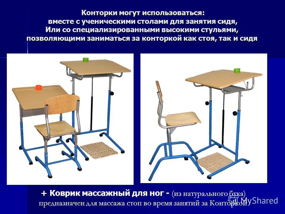 Конторки могут использоваться: вместе с ученическими столами для занятия сидя, Или со специализированными высокими стульями, позволяющими заниматься за конторкой как стоя, так и сидя + Коврик массажный для ног - (из натурального бука) предназначен дл