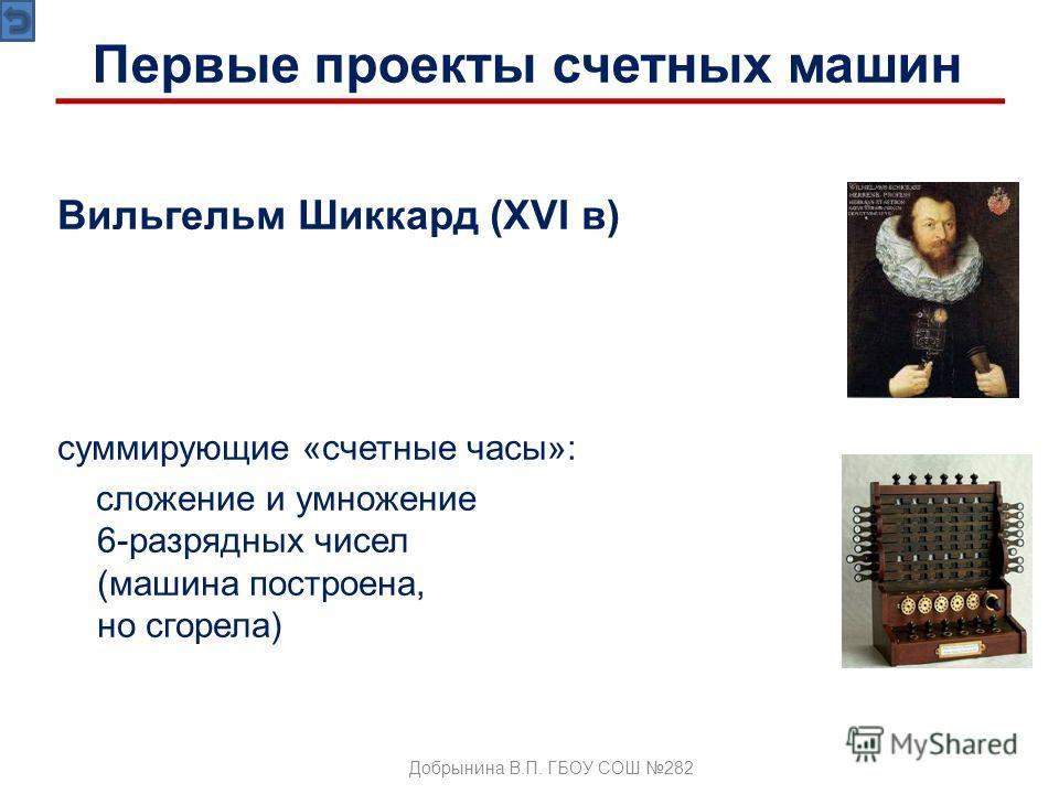 Вильгельм Шиккард (XVI в) суммирующие «счетные часы»: сложение и умножение 6-разрядных чисел (машина построена, но сгорела) Добрынина В.П. ГБОУ СОШ 282 Первые проекты счетных машин