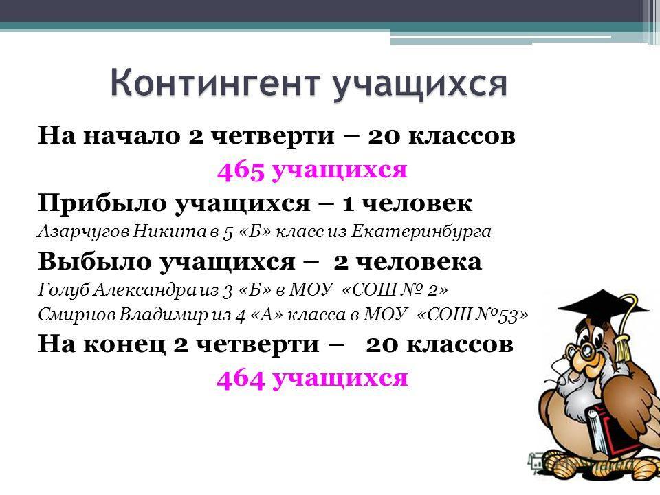 На начало 2 четверти – 20 классов 465 учащихся Прибыло учащихся – 1 человек Азарчугов Никита в 5 «Б» класс из Екатеринбурга Выбыло учащихся – 2 человека Голуб Александра из 3 «Б» в МОУ «СОШ 2» Смирнов Владимир из 4 «А» класса в МОУ «СОШ 53» На конец