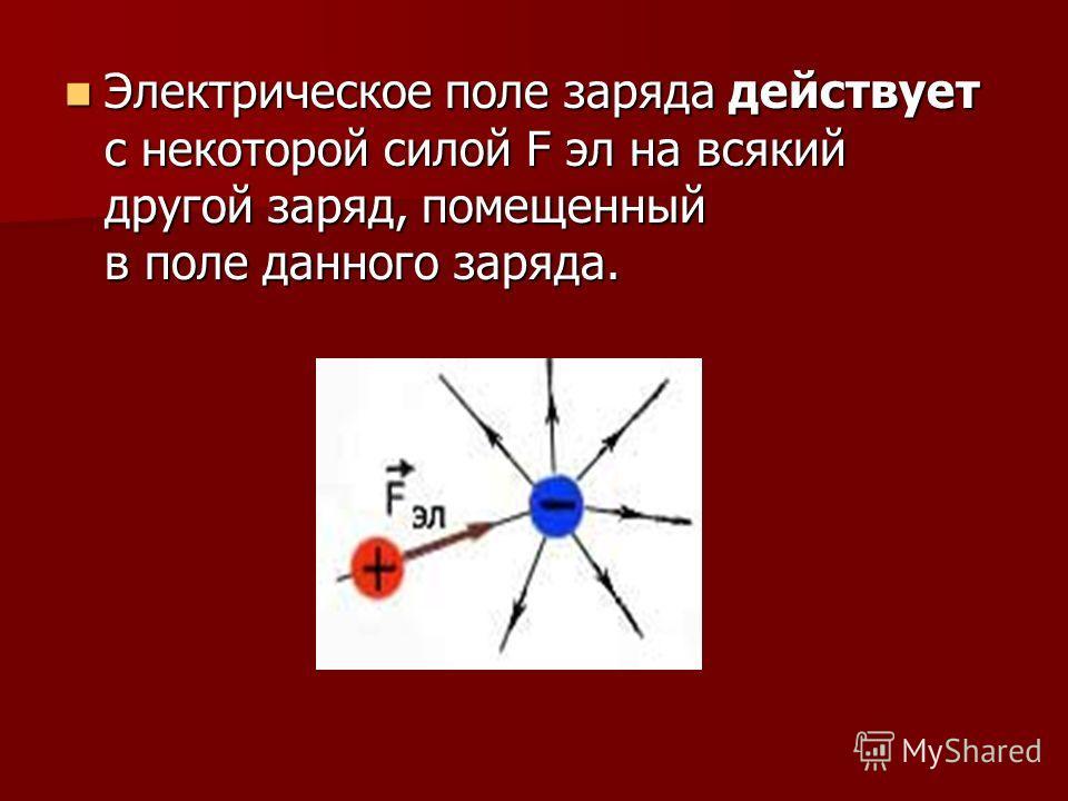 Электрическое поле заряда действует с некоторой силой F эл на всякий другой заряд, помещенный в поле данного заряда. Электрическое поле заряда действует с некоторой силой F эл на всякий другой заряд, помещенный в поле данного заряда.