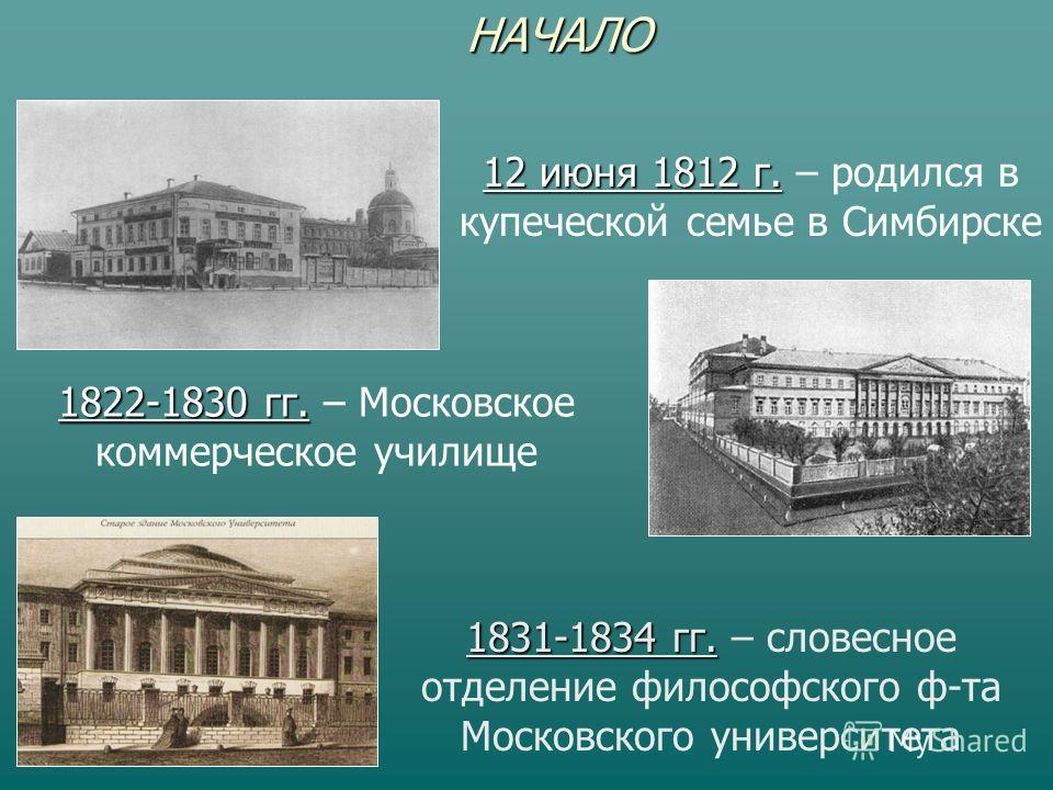 НАЧАЛО 12 июня 1812 г. 12 июня 1812 г. – родился в купеческой семье в Симбирске 1822-1830 гг. 1822-1830 гг. – Московское коммерческое училище 1831-1834 гг. 1831-1834 гг. – словесное отделение философского ф-та Московского университета