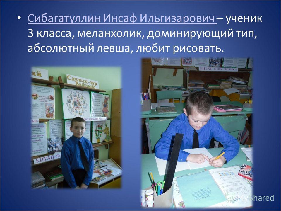 Сибагатуллин Инсаф Ильгизарович – ученик 3 класса, меланхолик, доминирующий тип, абсолютный левша, любит рисовать. Сибагатуллин Инсаф Ильгизарович