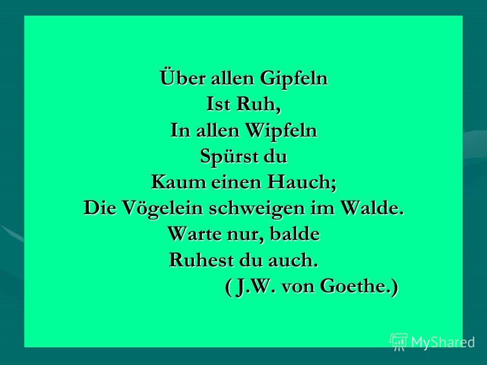 Über allen Gipfeln Ist Ruh, In allen Wipfeln Spürst du Kaum einen Hauch; Die Vögelein schweigen im Walde. Warte nur, balde Ruhest du auch. ( J.W. von Goethe.)