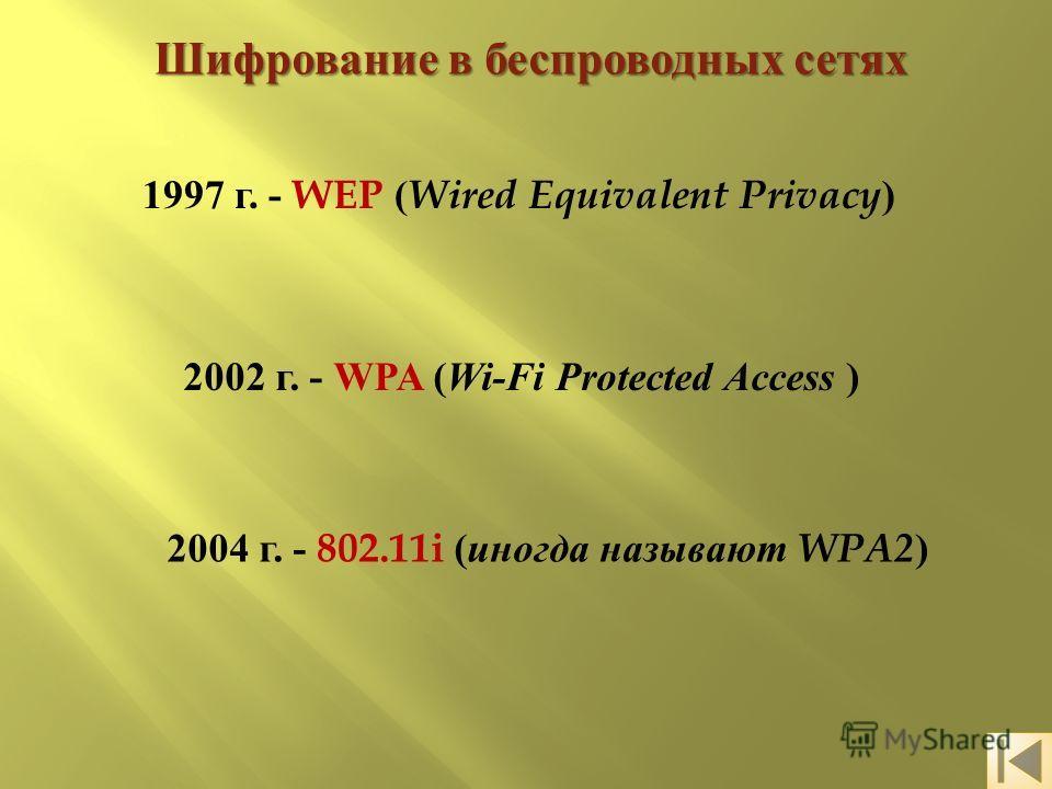 Шифрование в беспроводных сетях 1997 г. - WEP ( Wired Equivalent Privacy ) 2002 г. - WPA ( Wi-Fi Protected Access ) 2004 г. - 802.11i ( иногда называют WPA2 )