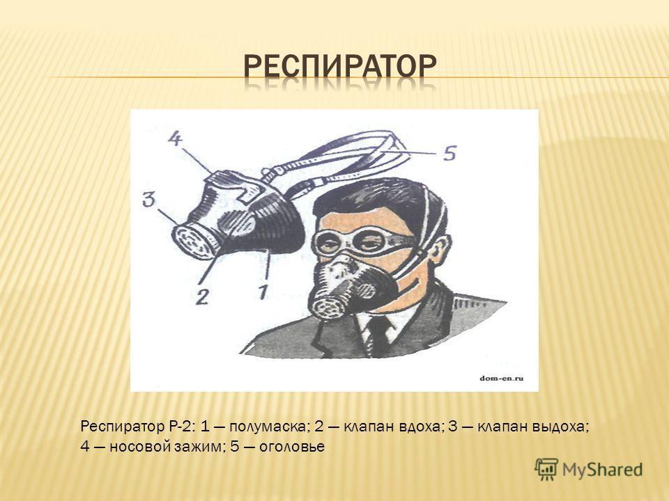 Респиратор Р-2: 1 полумаска; 2 клапан вдоха; 3 клапан выдоха; 4 носовой зажим; 5 оголовье