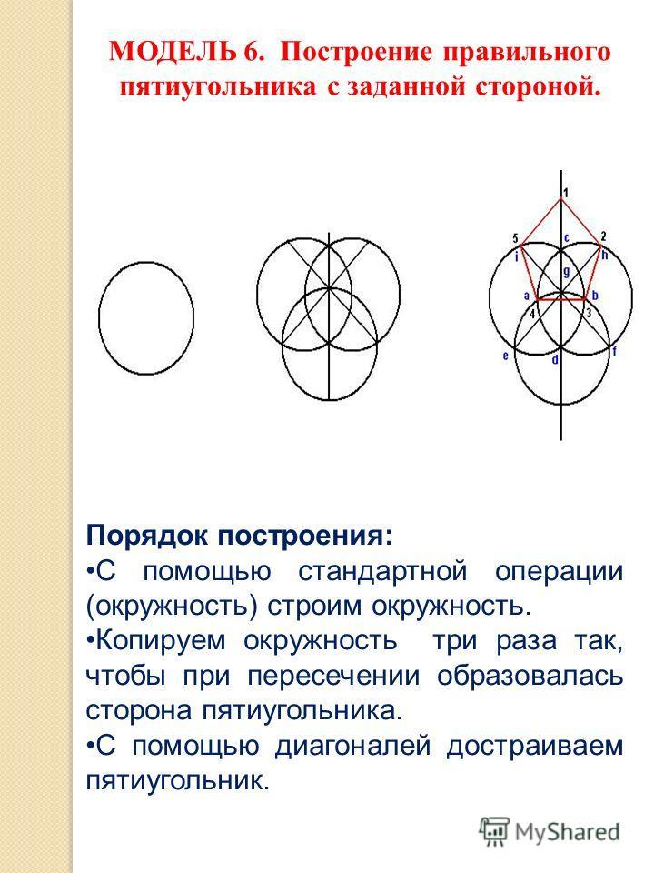 МОДЕЛЬ 6. Построение правильного пятиугольника с заданной стороной. Порядок построения: С помощью стандартной операции (окружность) строим окружность. Копируем окружность три раза так, чтобы при пересечении образовалась сторона пятиугольника. С помощ