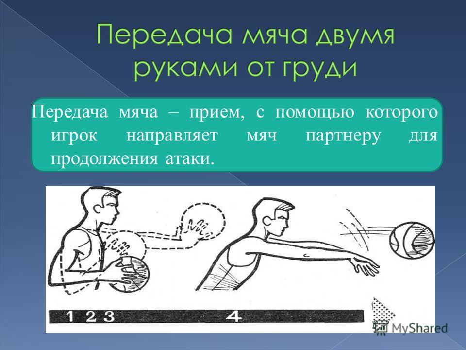 Передача мяча – прием, с помощью которого игрок направляет мяч партнеру для продолжения атаки.