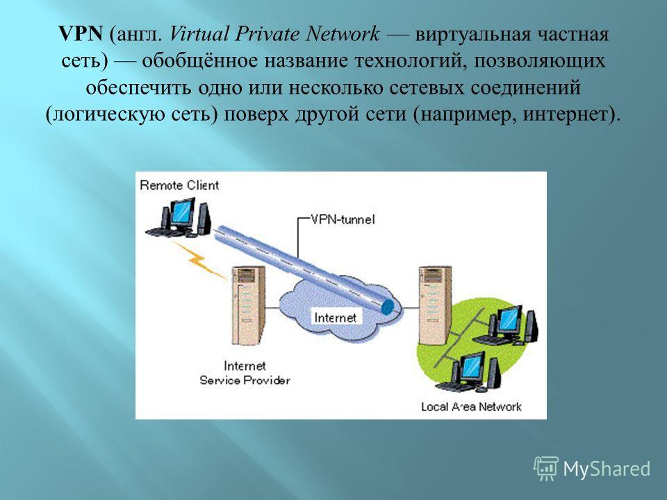 VPN ( англ. Virtual Private Network виртуальная частная сеть ) обобщённое название технологий, позволяющих обеспечить одно или несколько сетевых соединений ( логическую сеть ) поверх другой сети ( например, интернет ).