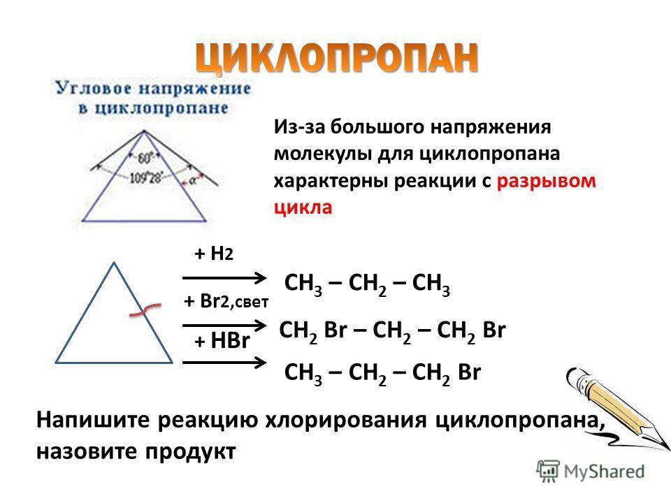 + H 2 СH 3 – CH 2 – CH 3 + Br 2,свет СH 2 Br – CH 2 – CH 2 Br + HBr СH 3 – CH 2 – CH 2 Br Из-за большого напряжения молекулы для циклопропана характерны реакции с разрывом цикла Напишите реакцию хлорирования циклопропана, назовите продукт