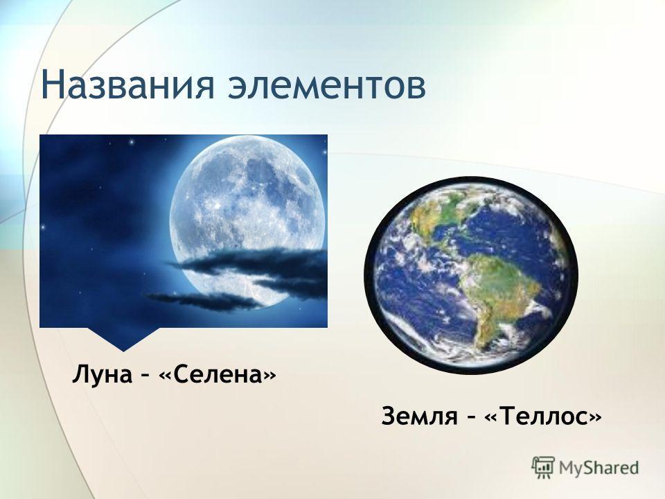 Названия элементов Земля – «Теллос» Луна – «Селена»
