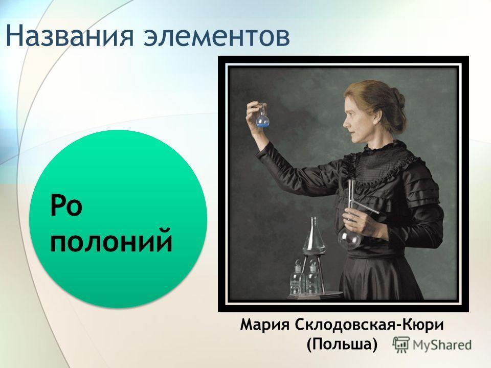 Названия элементов Po полоний Мария Склодовская-Кюри (Польша)