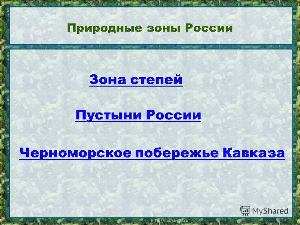 Природные зоны России Черноморское побережье Кавказа Зона степей Пустыни России