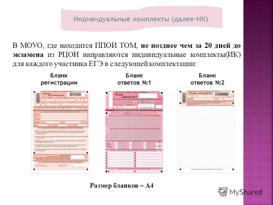 Бланк регистрации Бланк ответов 2 Бланк ответов 1 Индивидуальные комплекты (далее-ИК) В МОУО, где находится ППОИ ТОМ, не позднее чем за 20 дней до экзамена из РЦОИ направляются индивидуальные комплекты(ИК) для каждого участника ЕГЭ в следующей компле