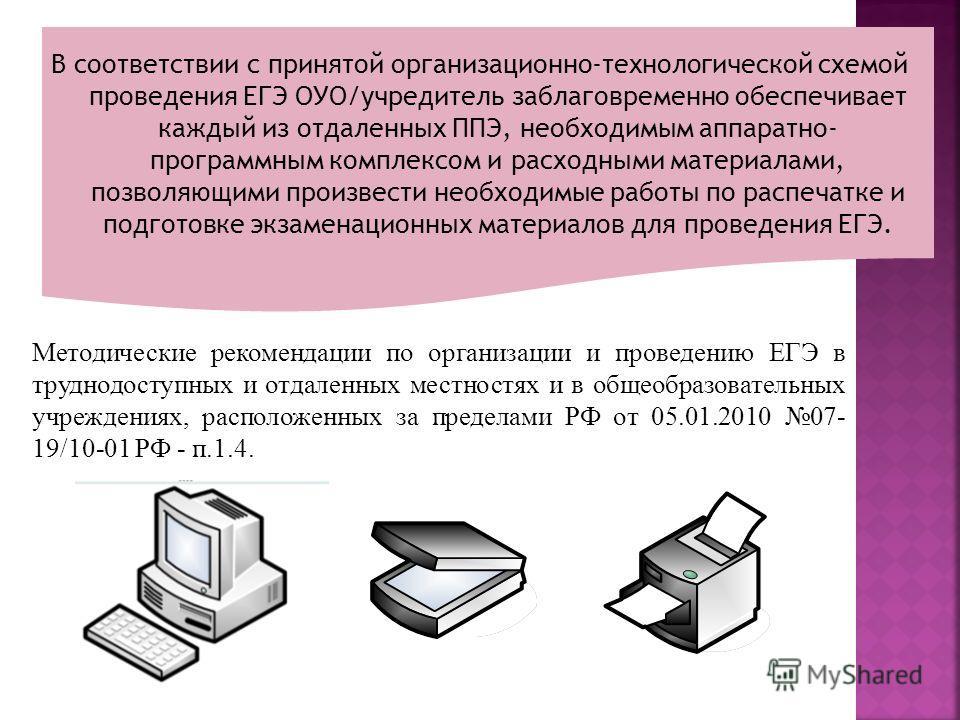 В соответствии с принятой организационно-технологической схемой проведения ЕГЭ ОУО/учредитель заблаговременно обеспечивает каждый из отдаленных ППЭ, необходимым аппаратно- программным комплексом и расходными материалами, позволяющими произвести необх