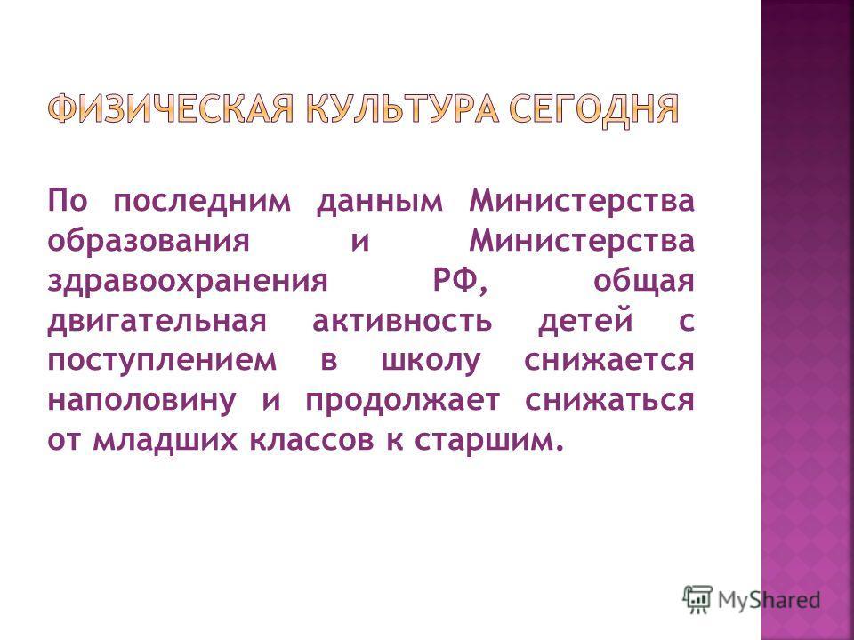 По последним данным Министерства образования и Министерства здравоохранения РФ, общая двигательная активность детей с поступлением в школу снижается наполовину и продолжает снижаться от младших классов к старшим.