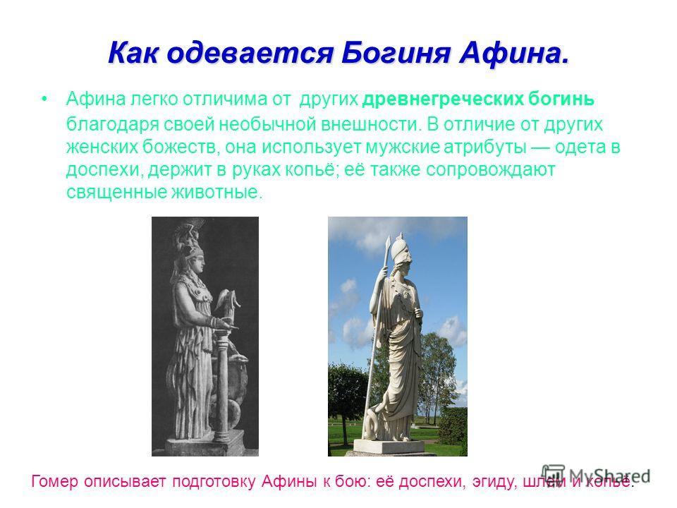 Как одевается Богиня Афина. Афина легко отличима от других древнегреческих богинь благодаря своей необычной внешности. В отличие от других женских божеств, она использует мужские атрибуты одета в доспехи, держит в руках копьё; её также сопровождают с