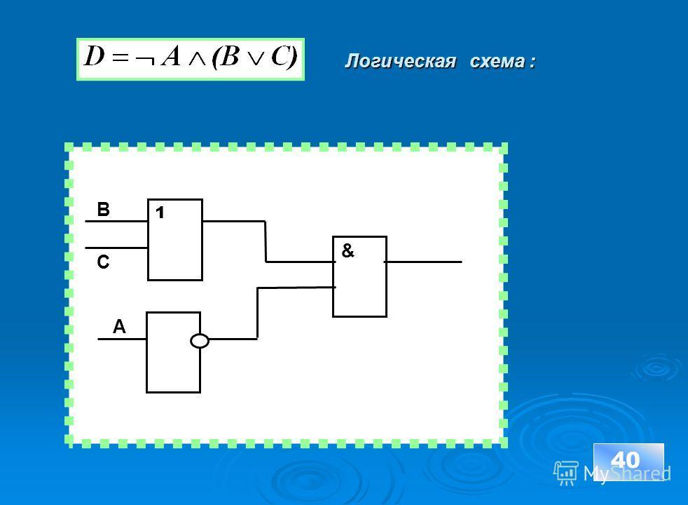 40 & А Логическая схема : 1 В С