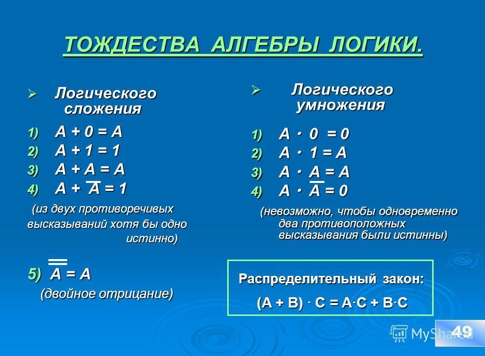 ТОЖДЕСТВА АЛГЕБРЫ ЛОГИКИ. Логического сложения Логического сложения 1) A + 0 = A 2) A + 1 = 1 3) A + A = A 4) A + A = 1 (из двух противоречивых (из двух противоречивых высказываний хотя бы одно истинно) истинно) 5) А = А (двойное отрицание) (двойное