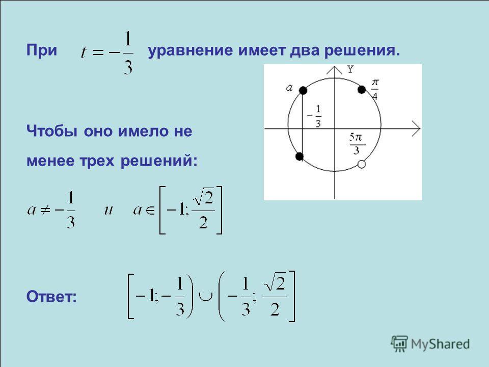 При уравнение имеет два решения. Чтобы оно имело не менее трех решений: Ответ: