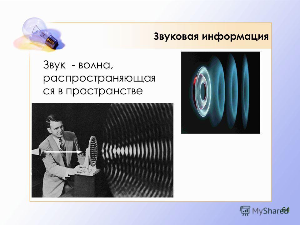 Звуковая информация Звук - волна, распространяющая ся в пространстве 64