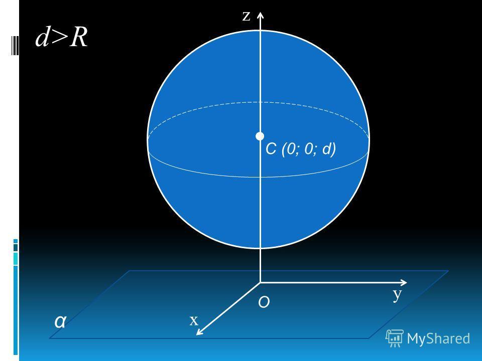 О С (0; 0; d) α z y x d>R