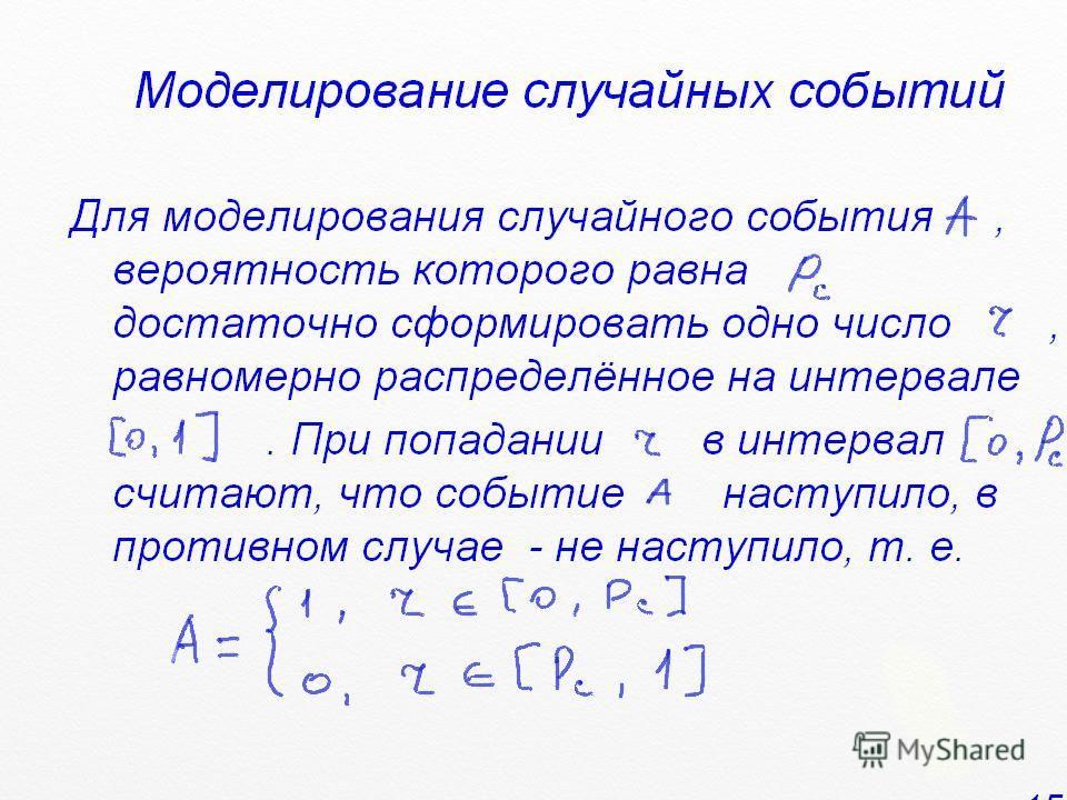 Моделирование случайных событий Для моделирования случайного события, вероятность которого равна, достаточно сформировать одно число, равномерно распределённое на интервале. При попадании в интервал, считают, что событие наступило, в противном случае
