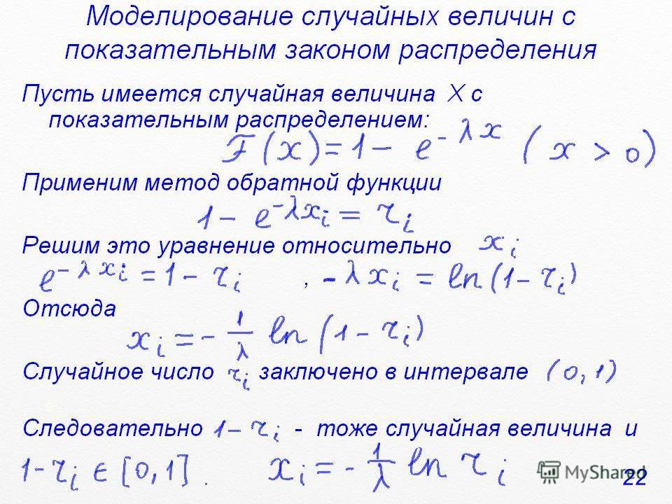 Моделирование случайных величин с показательным законом распределения Пусть имеется случайная величина Х с показательным распределением: Применим метод обратной функции Решим это уравнение относительно, Отсюда Случайное число заключено в интервале, С