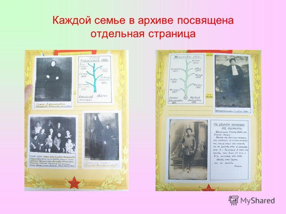 Каждой семье в архиве посвящена отдельная страница