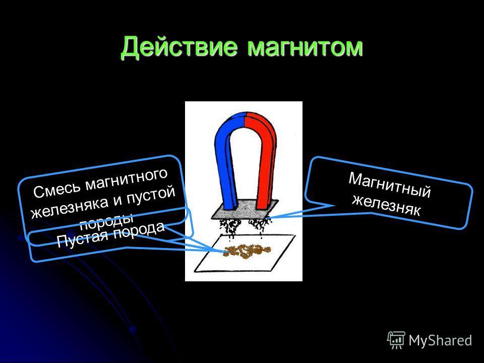 Действие магнитом Смесь магнитного железняка и пустой породы Пустая порода Магнитный железняк
