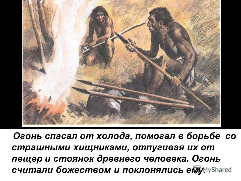 Огонь спасал от холода, помогал в борьбе со страшными хищниками, отпугивая их от пещер и стоянок древнего человека. Огонь считали божеством и поклонялись ему.