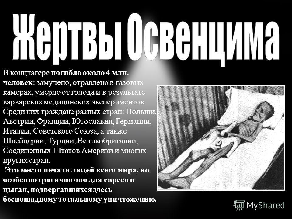 В концлагере погибло около 4 млн. человек: замучено, отравлено в газовых камерах, умерло от голода и в результате варварских медицинских экспериментов. Среди них граждане разных стран: Польши, Австрии, Франции, Югославии, Германии, Италии, Советского